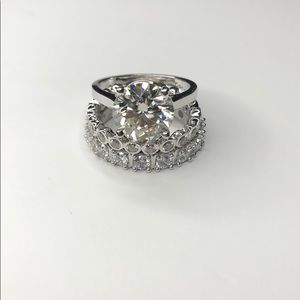 3.5Ct Moissanite Ring With 2 Band 14K Finish